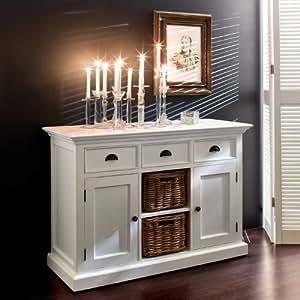 cag zeitlos elegantes sideboard anrichte kommode josephine mit 2 rattank rben antik weiss. Black Bedroom Furniture Sets. Home Design Ideas