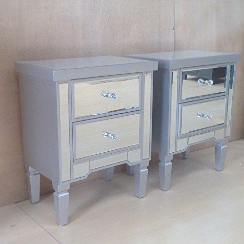 Port de Sollerr furniture Paar Valetta, Ethanol, Silber verspiegelt Holz Nachttisch mit 3Schubladen Truhen Schlafzimmer Möbel (2) (3 Verspiegeltes Stück Schlafzimmer-set)