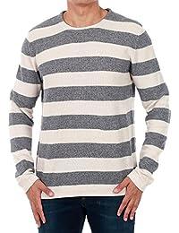 JACK   JONES Pulli Herren Grauweiß Gestreift 12119386 JJVBAYAMO Knit Crew  Neck White Melange ONE d790cf5585