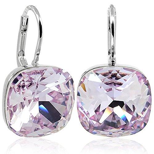 Ohrringe mit Kristalle von Swarovski® Silber Violett Lila NOBEL SCHMUCK (Kristall Schmuck Lila)