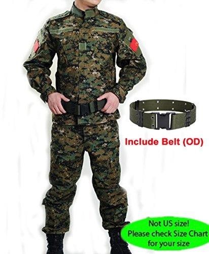 H Welt Shopping Military Tactical Herren Jagd Combat BDU Uniform-Shirt und Hose mit Gürtel Woodland Digital Aor2, AOR2