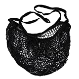 Albeey Net Shopping Bag Long Handle Portable/Washable/Reusable Net Shopping Tote String Bag Organizer for Grocery Shopping, Beach, Toys, Storage, Fruit, Vegetable and Market (black)