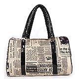 Die Neue Retro-Stil Trend Ruili Heißer Verkauf Zeitungsdruck Einfache Handtasche Schulter Weibliche Kissen Tasche,Black-M