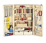Leomark Deluxe Werkzeug für Kinder XL 50-Tlg, Holz Werkyeugkasten, Kompakter Werkzeugkoffer Holzschrank mit Werkzeug