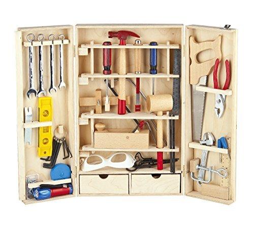 Leomark cassetta degli attrezzi deluxe 50 pezzi set di strumenti in una scatola di legno attrezzi da lavoro set di attrezzi artigianali per principianti giocattolo di legno kit di attrezzi portatile