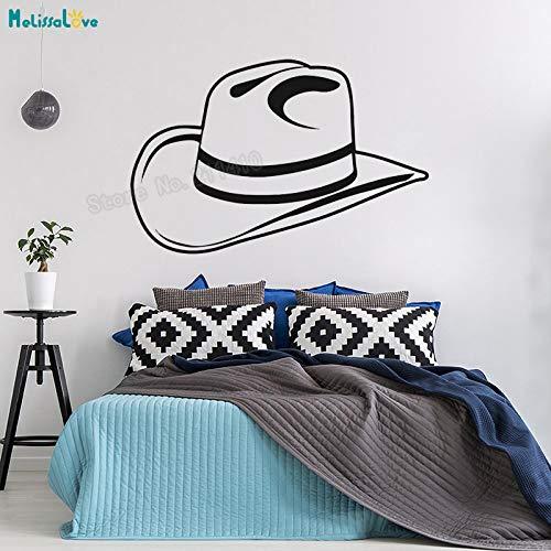 Coole Wandtattoos Cowboy Hut Tapete Aufkleber Dekoration Für Wohnzimmer Schlafzimmer selbstklebende Vinyl Kunst Wandbilder Y 86x56 cm