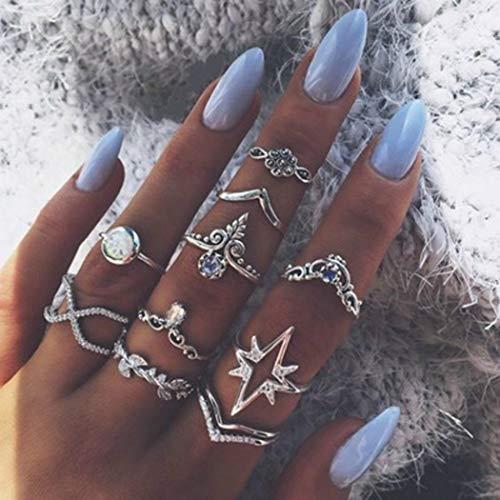 Yean - Juego anillos vintage diseño flor corona cristal