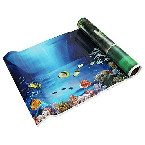 Iycorish R Aquarium Hintergrund Ozean Landschaft Wand Aufkleber als Fisch Tank Hintergrund Dekor - Blau