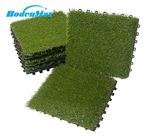 Sol Max® Gazon synthétique Click Dalles de gazon Dalles 30x 30cm plaque Véranda en plastique gazon herbe pour carrelage Dalles à emboîter 8 pièces