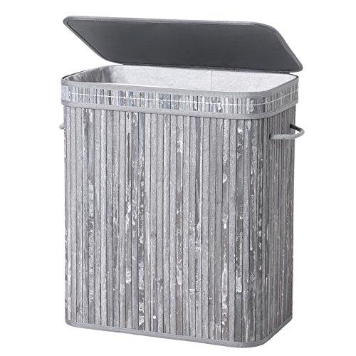 SONGMICS faltbar Bambus Wäschekorb Wäschetruhe Wäschekiste Wäschetonne mit Deckel Wäschesammler 100 L Wäschebox mit Wäschesack zum Herausnehmen LCB61GW