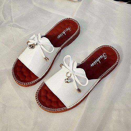 RUGAI-UE Breve Fashion a fondo piatto pantofole donne Butterfly Knot slittamento piana tacco piatto Calzature Donna White