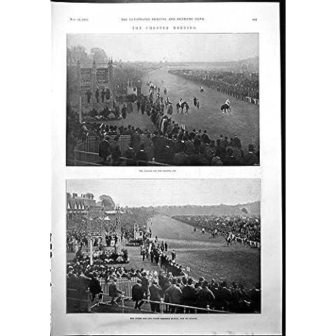 La Impresión Antigua del Desfile de la Reunión de Chester Para la Carrera de Caballos del Final de la Taza Estaca Hulcot 1900