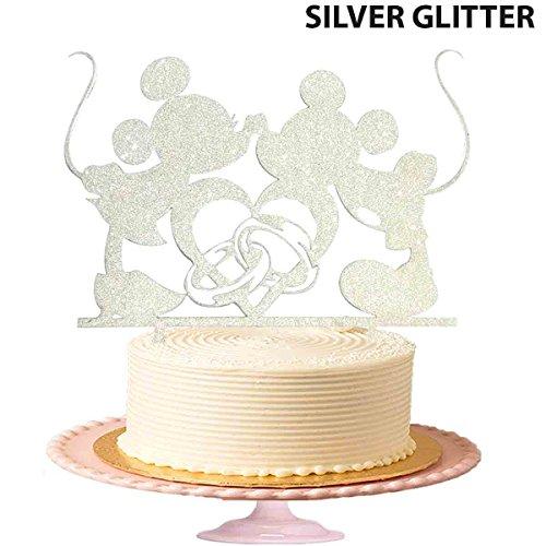 Micky Maus Kisses Minnie Maus Hochzeit Tortenaufsatz Engagement Party Kuchen Topper in Silber Glitzer (Toppers Minnie Maus Kuchen)