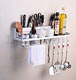 Multifunktions Küche Rack Organizer Regale - Wand hängende Aluminium Küche Rack von Wand Regal, gehören Gewürz Flasche Rack, Utensilien und andere Küche Gadgets (Silber)