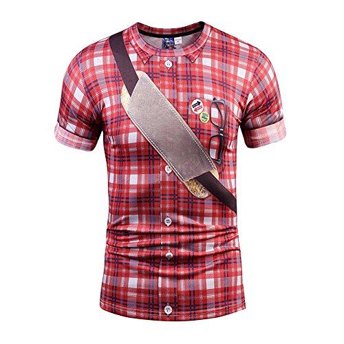 Yonbii Herren Unisex Rundhals Casual Strassenmode T-Shirt Tops-7