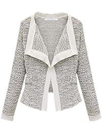 EOZY Blazer Femme Veston Veste De taille:r Manche Longue Automne Coton Mixte Cintré Chiné
