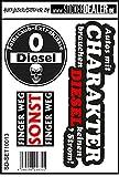 Aufkleber Sticker Set 3 Motive Diesel Feinstaub Umwelt Plakette JDM Fahrverbot Tuning Racing Stickerbomb TÜV Umweltzone Fun Lustig Sparset Berühren Verboten Schwarz