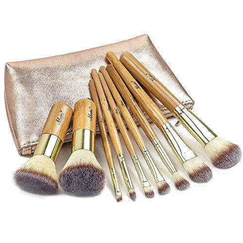 Matto - Ensemble de 9 pinceaux à maquillage en bambou avec trousse de voyage