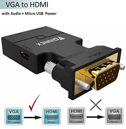 Adaptateur VGA vers HDMI avec audio, FOINNEX VGA HDMI Convertisseur Sortie AV 1080p pour TV, Ordinateur, Projecteur, Câble audio Câble Micro USB, Connecteur HD, Taille portable Plug and Play.
