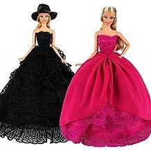 6461b577b VILLAVIVI 2x Vestidos de noche Vestido Princesa Ropas para Muñeca Barbie  -Fucsia y Negro