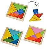 3 Stk. Legespiel / Knobelspiel aus Holz - Tangram auch als Reisespiel Motorikspiel Plattenmosaik bunte Formen Holzplättchen für Kinder Erwachsene Geduldspiel