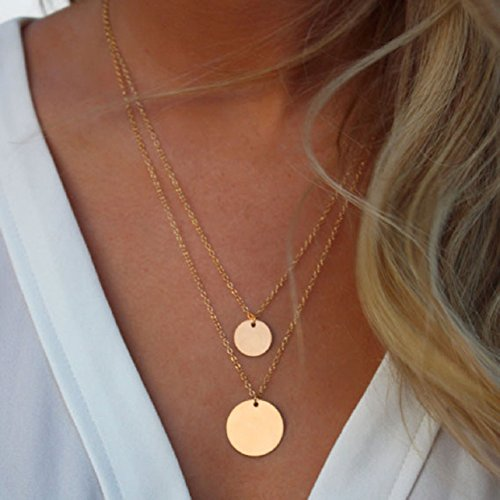 Malloom® Charme Infini D'Or Simple, Doubles Couches De La ChaîNe Collier Pendentif Paillettes