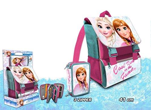 Frozen – Mochila italiana con plumier triple (Kids Euroswan FR17131)