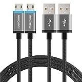 LED Micro USB Kabel – 2 Meter (2 Pack), FosPower [wendbar Micro USB] 2 m Verlängerte Ladekabel für Playstation 4, PS4 Pro/Slim, Xbox One/One S/One X/Elite Controller