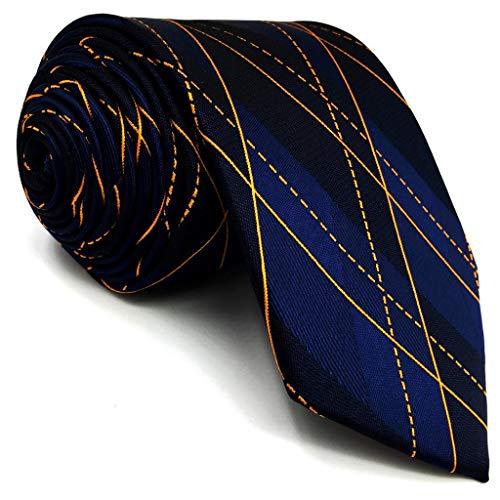 S&W SHLAX&WING Herren Krawatte Blau Orange Geometrisch Seide Neu Entwurf -