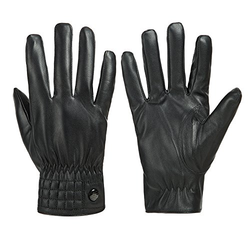 GLOUE Leder Handschuhe Touch Screen wasserdicht winddicht Gefüttert winterfest unisex warme Handschuhe Winter Outdoor schwarz, Schwarz 01, One size