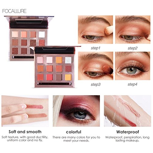 Pateau à ombre à paupières, Palettes de maquillage, le fard à paupières, Palette Maquillage, Palette Highlighter, Palette fard à Paupière, Palette Correcteur,PowerFul-LOT 12 Colors Smoky Eyeshadow Makeup Brush Mirror Set (02#)