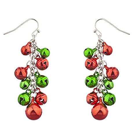 Lux Accessoires multicolores Argenté de Noël Jingle Bells Dangle Boucles d'oreilles