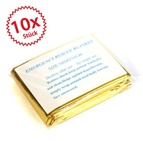 10 x Rettungsdecke, Rettungsfolie, Notfalldecke, Erste- Hilfe- Decke, gold/silber, 210 x 160