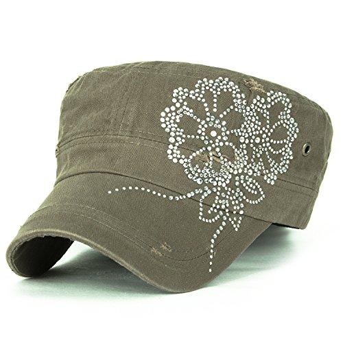 ililily Stollen Blumenmuster trimmen klassischer Stil abgenutztes Aussehen Baumwolle Militär Armee Hut Kadett Cap , Olive Drab (Hut Militär Olive)