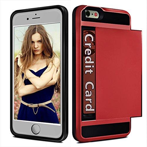 iPhone 6S Case / 6, Binwo resistente agli urti Wallet Shell protettivo antiurto in gomma cassa del respingente Anti-graffi la pelle dura della copertura posteriore di con scanalatura del supporto scorrevole Scheda per Apple iPhone 6 / 6S 4.7 pollici (Red)