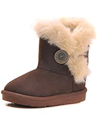 Minetom Niña Invierno Lana Acolchado Zapatos Suave Forrado Botas Toddlers Botas Bebé Antideslizante Botas De Nieve