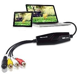 DIGITNOW! Vidéo Capture Transfère le Format Hi8 VHS vers un DVD Numérique pour Windows 10 / Mac, le Graveur Vidéo avec un Adaptateur Scart / AV