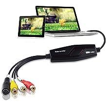 DIGITNOW! Convertidor de captura de vídeo USB, VHS a DVD Digital Grabber Grabador , Capturadora Digitalizadora de vídeo para Mac Windows