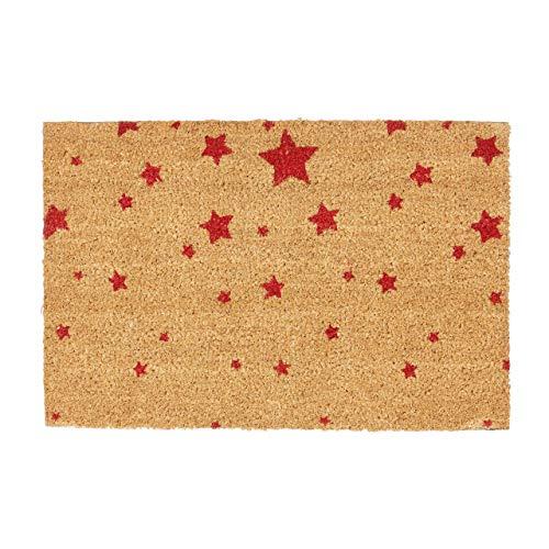 Relaxdays Felpudo para la Entrada del hogar, Patrones de Estrellas, 40 x 60 cm, Fibra de Coco y PVC...