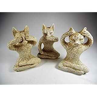 3er Set Katze nichts hören sehen sagen je 8 cm Affe Afrika Figur Deko GDET B166