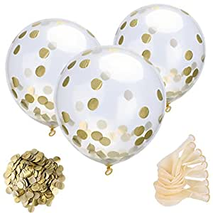 Mudder 24 Stück Konfetti Ballons Klar Luftballons und 30 g Golden Konfetti für Party Dekorationen