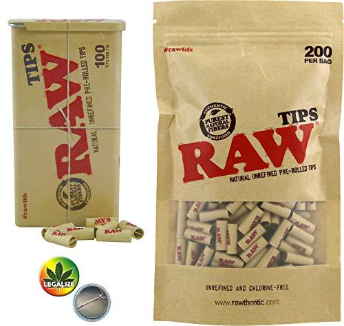 100 + 200 Raw pre-Rolled Tips Metal Tin vorgerollte Tips in Metalldose 1 Tin Case + 200er Nachfüllbeutel (=300 Tips) + Rasta-Button -