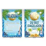 """Einladungskarten (8 Stück) zum Ausfüllen für Geburtstag - """"Gitarre"""" Sommer Party"""