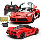 MousePotato 1:16 Sports Car with Remote Opening and Closing Doors Rechargeable Racing Car (RED)