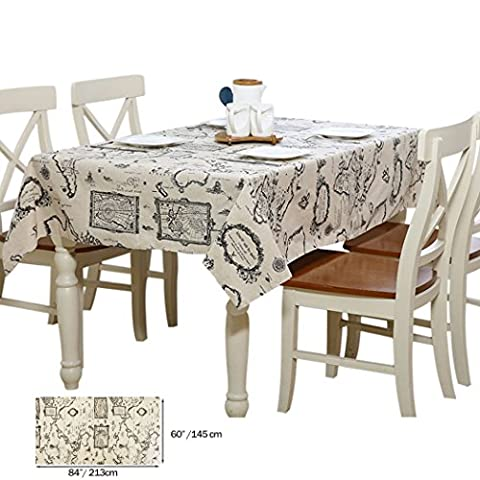 Cotton Tablecloth, Baymery Kitchen Linen Rectangular Table Runners World Map