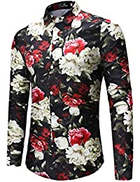 a543ec42d94c0 QUICKLYLY Camisa Hombre Manga Larga Estampada Flores Ancla Vintage Regular  Camisas Vestir Fiesta