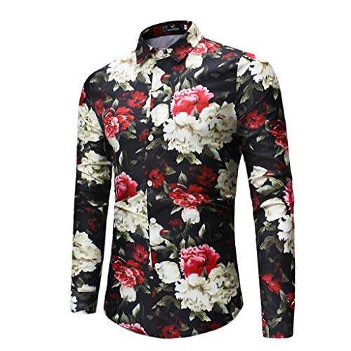 b90605f35d QUICKLYLY Camisa Hombre Manga Larga Estampada Flores Ancla Vintage Regular  Camisas Vestir Fiesta
