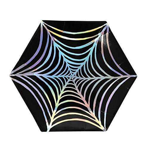 kleine Halloween Party-Teller Spinnennetz-Folienprint (Halloween Spinnen Pappteller)
