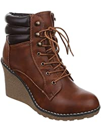 cc1b10b6b1f1cd King Of Shoes Damen Stiefeletten Keilabsatz Wedges Ankle Boots Stiefel  Schnür Schuhe 622