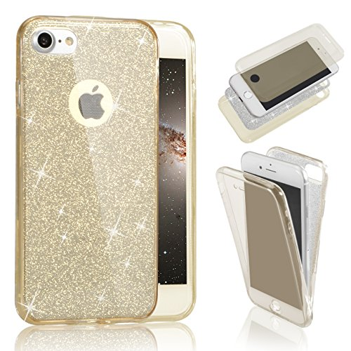 iPhone 8 360 Grad Hülle, iphone 8 Hülle Glitzer, Ultra Dünn Liquid Crystal Glänzende Soft-Flex Handyhülle Bumper Style Premium TPU Silikon Perfekte Passform Schutzhülle für iPhone 8 Case Cover Touchsc Gold